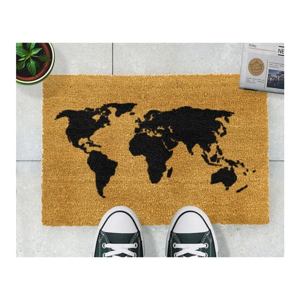 Covoraș intrare din fibre de cocos Artsy Doormats World Map, 40 x 60 cm