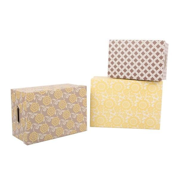 Sada 3 úložných krabic Yellow Brown