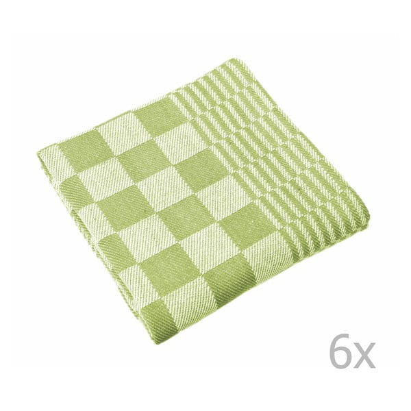 Sada 6 zelených utěrek Tiseco Home Studio Mineur, 65 x 65 cm