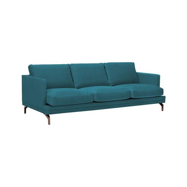 Tyrkysová trojmístná pohovka s podnožím ve zlaté barvě Windsor & Co Sofas Jupiter