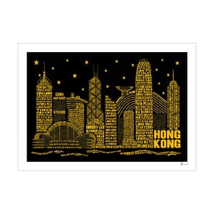 Plakát Hong Kong Black&Yellow, 50x70 cm