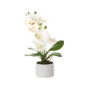 Bílý květináč s umělou květinou Unimasa Orchidej