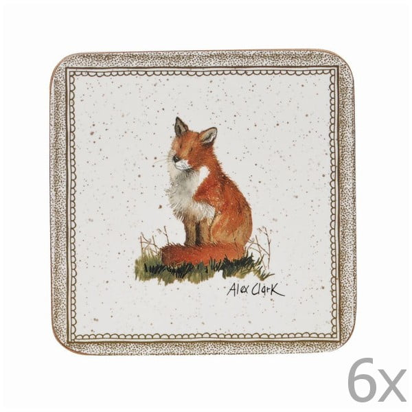 Sada 6 podtácků Churchill China Wildlife Fox, 10x10 cm
