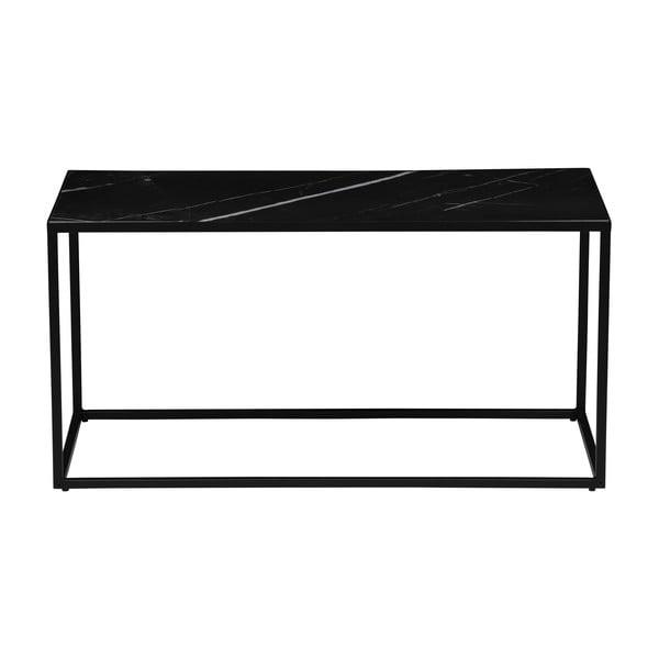 Fekete tárolóasztal márványmintás asztallappal, 90 x 45 cm - vtwonen