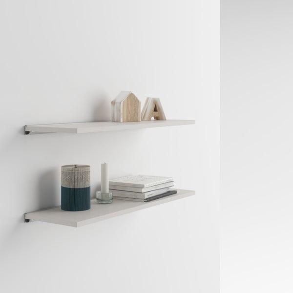 Set 2 rafturi de perete MobiliFiver Mena, 80 x 25 cm, cu aspect de lemn de frasin deschis