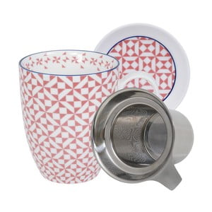 Růžovo-bílý hrnek s podšálkem a čajovým sítkem Tokyo Design Studio Geo Eclectic, 380ml