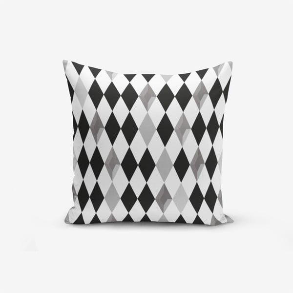 Black White Grey Elmas pamutkeverék párnahuzat, 45 x 45 cm - Minimalist Cushion Covers