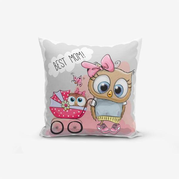 Față de pernă Minimalist Cushion Covers Best Mom Owl, 45 x 45 cm