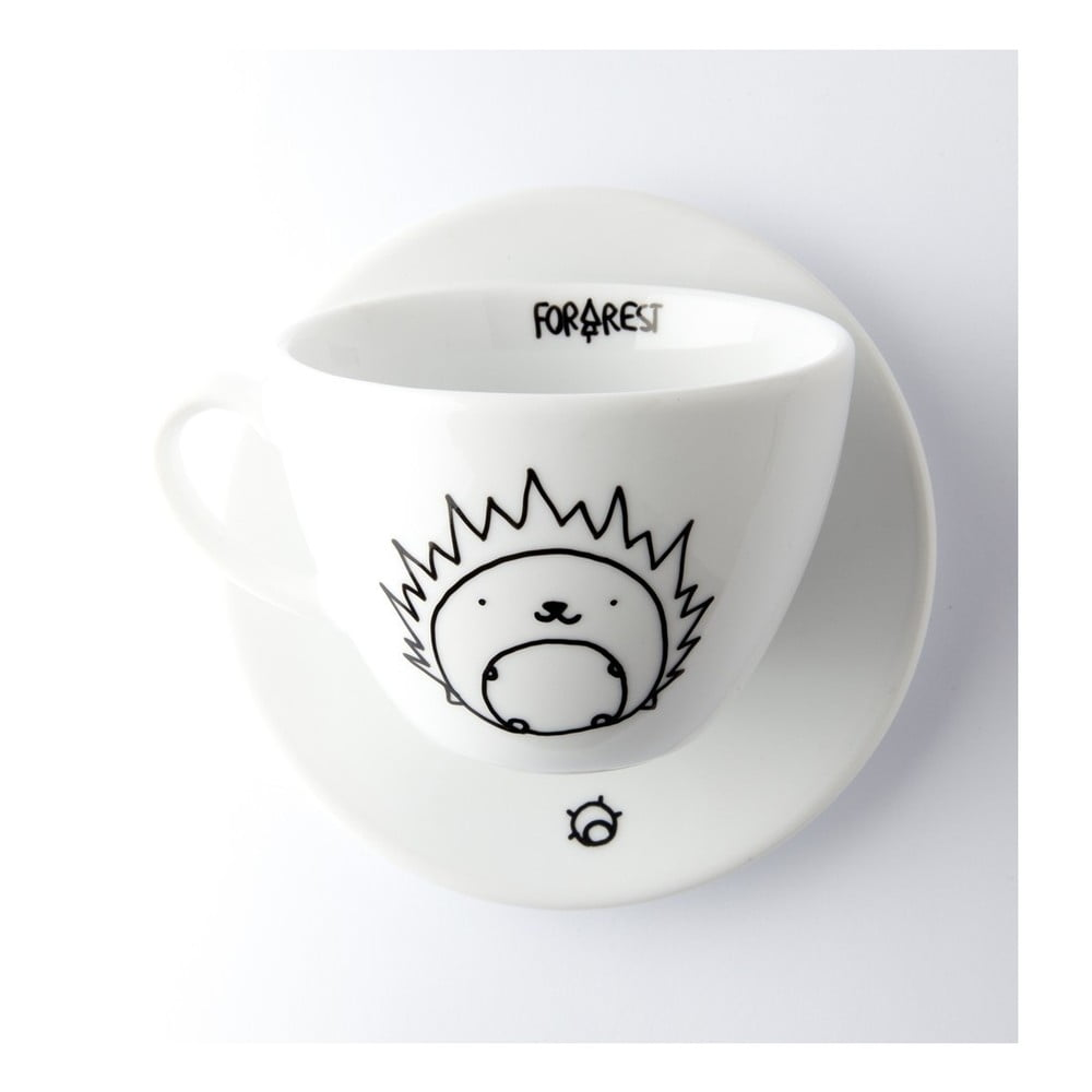 Hrneček na kávu s podšálkem FOR.REST Hedgehog, 200 ml
