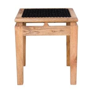 Taburet  din lemn de mango cu șezut negru House Nordic Leh