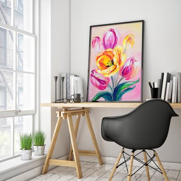 Plakát s tulipány, růžové pozadí, 30 x 40 cm