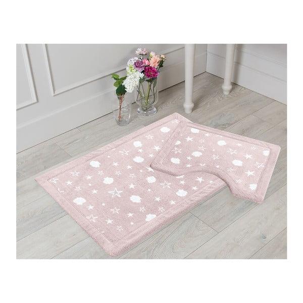 Sada 2 pudrově růžových koupelnových předložek Sea, 50x60cm/60x100cm