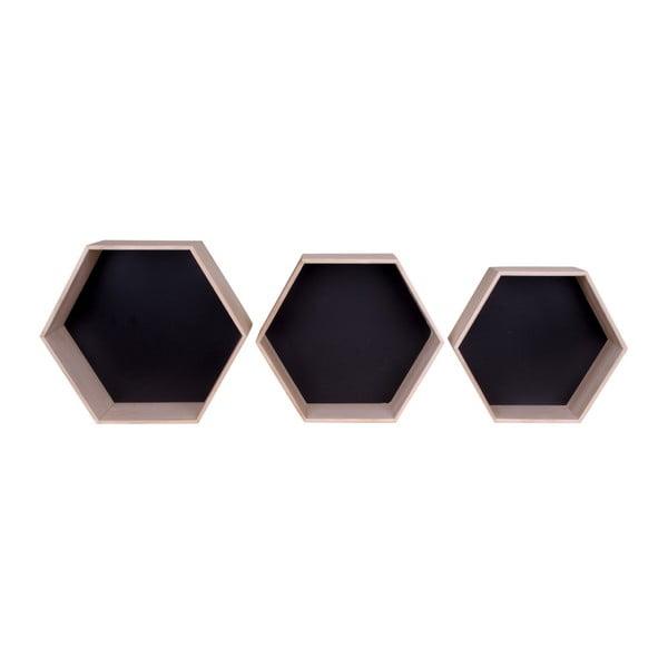 Set 3 rafturi de lemn House Nordic Garda, negru