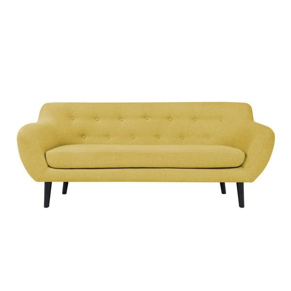 Piemont sárga háromszemélyes kanapé, barna lábakkal - Mazzini Sofas