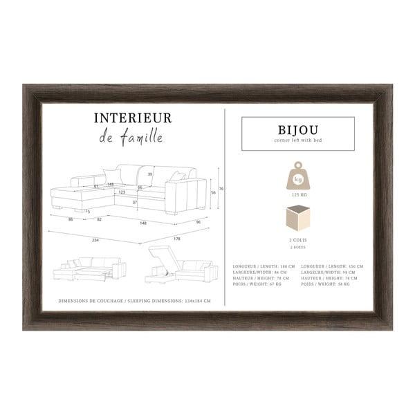 Tyrkysová rohová rozkládací pohovka s úložným prostorem INTERIEUR DE FAMILLE PARIS Bijou, levý roh