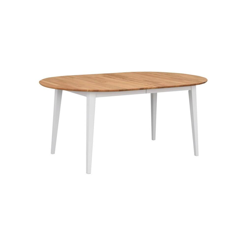 Oválný dubový rozkládací jídelní stůl s bílými nohami Folke Mimi, délka až 210 cm