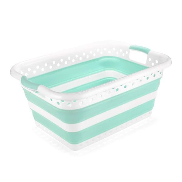 Bílo-tyrkysový složitelný koš na prádlo Addis Collapsible Laundry Basket