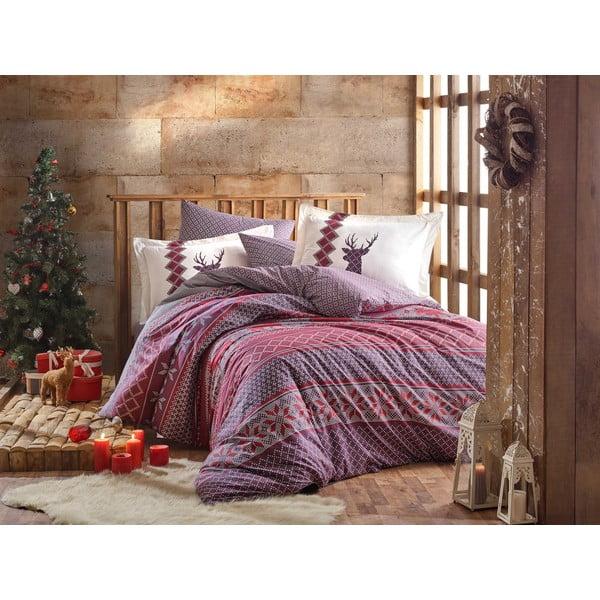 Lenjerie și cearceaf din bumbac pentru pat de o persoană Hobby Clarinda Claret Red, 160 x 220 cm