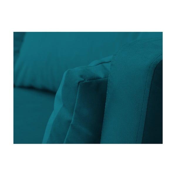 Tmavě tyrkysová třímístná pohovka Mazzini Sofas Elena, slenoškou na pravém rohu