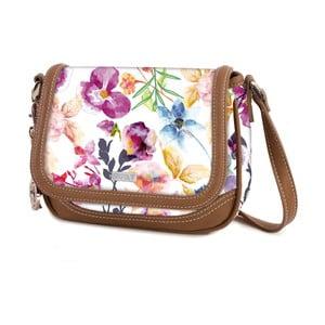 Bílá kabelka s barevnými květy SKPA-T, 20 x 15 cm