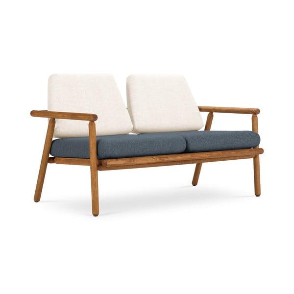 Canapea cu 2 locuri pentru exterior, construcție lemn masiv de salcâm Calme Jardin Capri Premium, alb - albastru închis