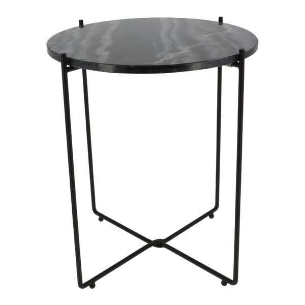 Czarny stolik z marmurowym blatem Compactor Agneta