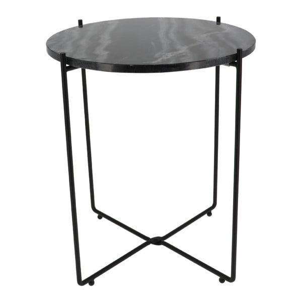 Černý odkládací stolek s mramorovou deskou Compactor Agneta