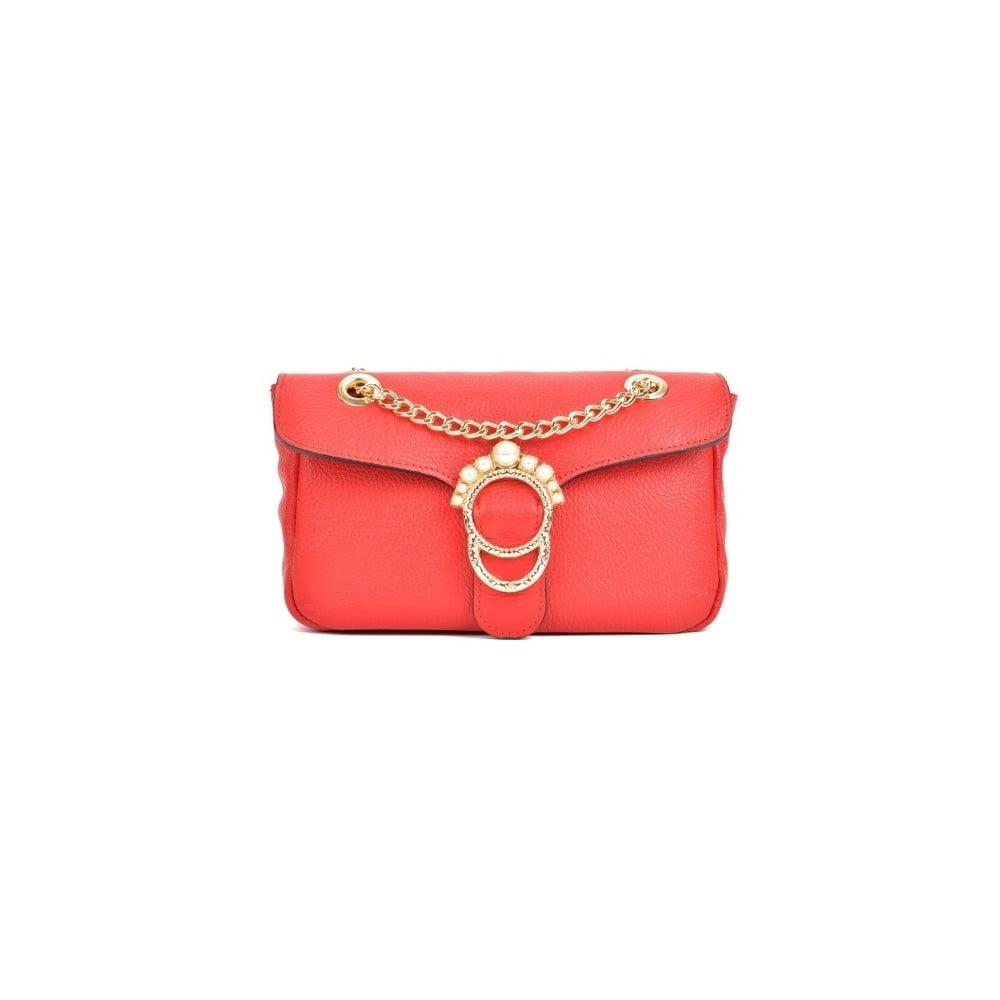 Červená kožená kabelka Sofia Cardoni Princesa
