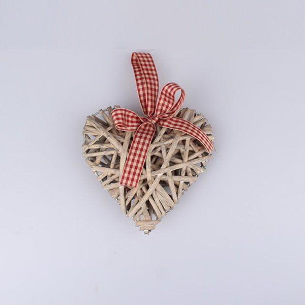 Decorațiune suspendată din ratan, în formă de inimă Dakls, înălțime 15 cm