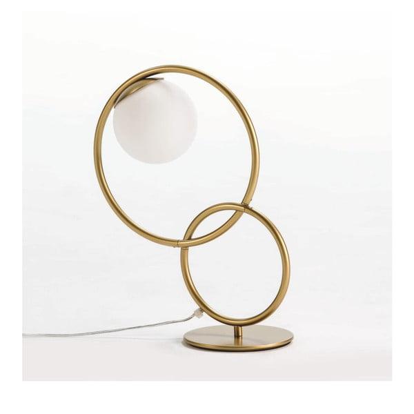 Lampa stołowa z metalu w złotej barwie Thai Natura Circles, 42x48 cm