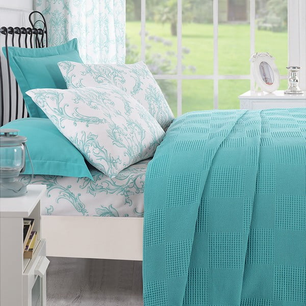 Sada přehozu přes postel, prostěradla a 2 polštářů Ekolin Mint, 200x235 cm