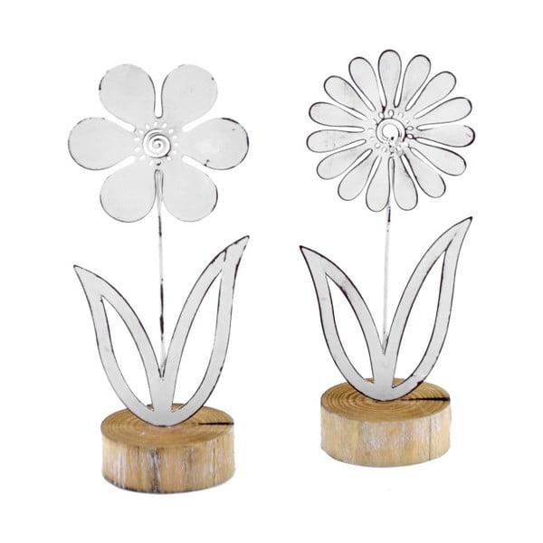 Sada 2 malých kovových dekorací na dřevěném podstavci s motivem květiny EgoDekor, 9x21,5 cm