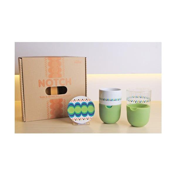 Set 2 căni pentru latte cu farfurie a zeleným silikonovým krytem Silly Design Take A Break