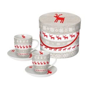 Sada 2 šálků z kostního porcelánu na espresso s vánočním motivem v dárkovém balení PPD Christmas Magic, 100 ml