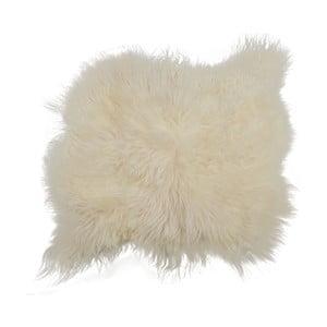 Covor din blană cu fir lung Busta, 100 x 90 cm, alb