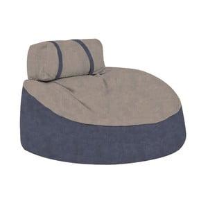 Modrý sedací puf s pískovým vrškem Poufomania Cookie