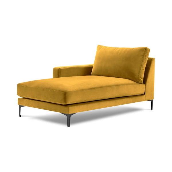 Żółty aksamitny szezlong Kooko Home Harmony, lewostronny