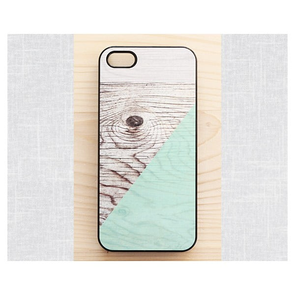 Obal na iPhone 4/4S, Mint Geometric Wood/black