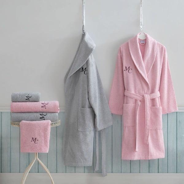 Set dámského a pánského županu, 2 ručníků a 2 osušek v šedé a růžové barvě Family Bath