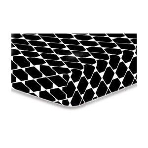 Černé elastické prostěradlo z mikrovlákna DecoKing Rhombuses, 160x200cm
