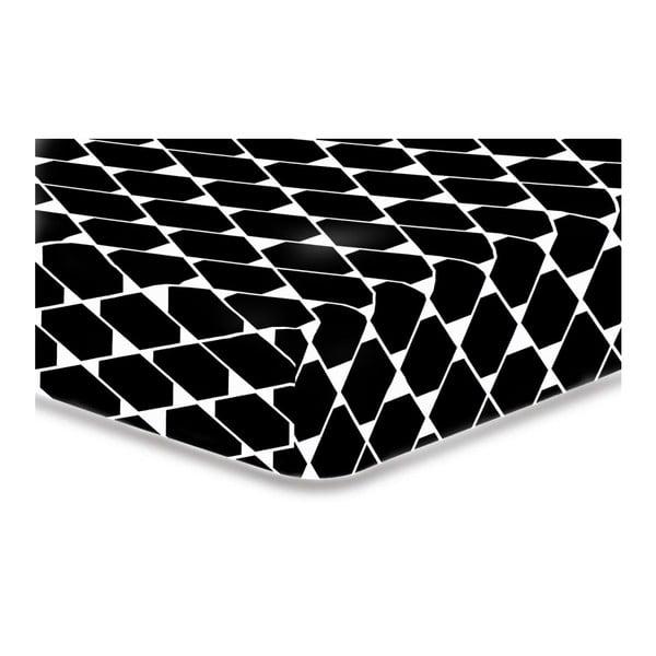 Černé elastické prostěradlo z mikrovlákna DecoKing Rhombuses, 100x200cm