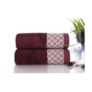 Sada 2ks ručníků Bamboo Polo Burgundy, 50x90 cm