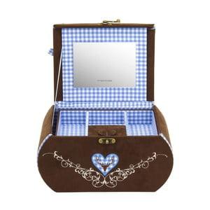 Šperkovnice Bagvaria Brown/Blue, 22x14,5x13,5 cm
