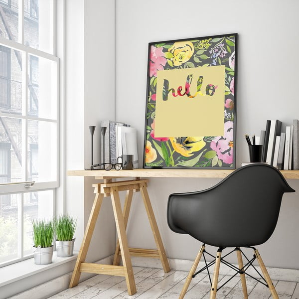 Plakát s květinami Hello, žluté pozadí, 30 x 40 cm