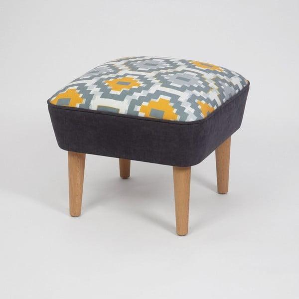Taburet s drevenými nohami Damo Sabado, 45 × 45 cm