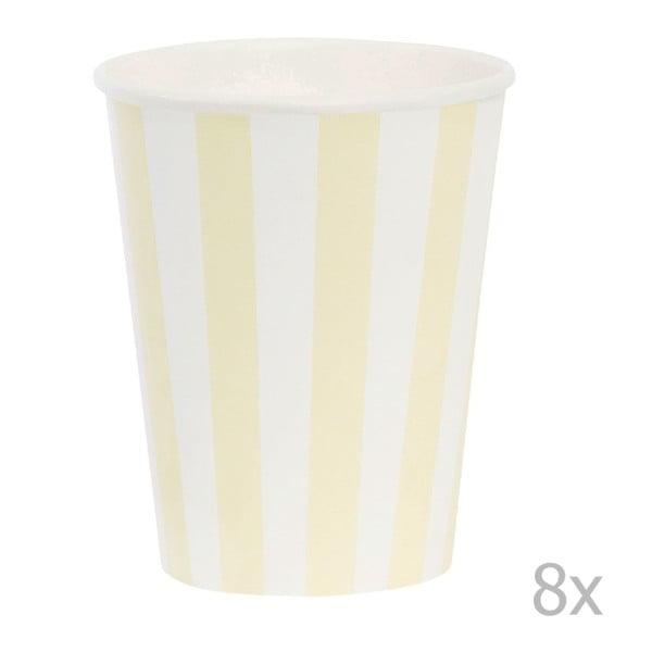 Sada papírových kelímků Miss Étoile Lemon Stripe, 8 ks