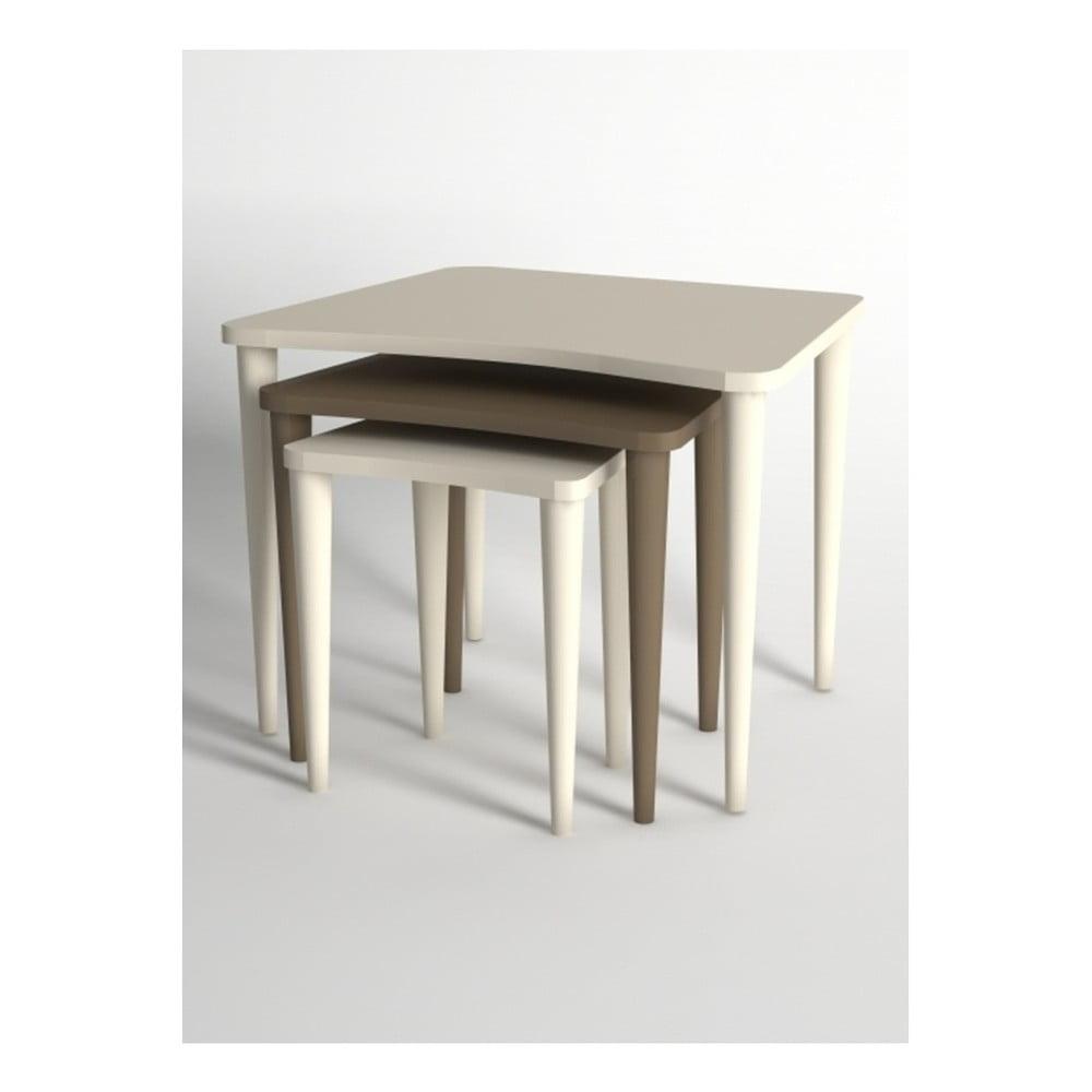 Sada 3 konferenčních stolků v hnědé a krémové barvě Monte Nero