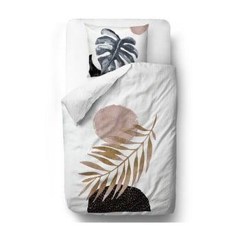 Lenjerie de pat din bumbac satinat Butter Kings Glossy Leaf, 135 x 200 cm