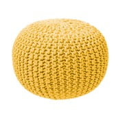 Puf tricotat ZicZac, galben muștar