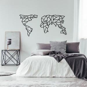 Černá kovová nástěnná dekorace Geometric World Map, 120 x 58 cm